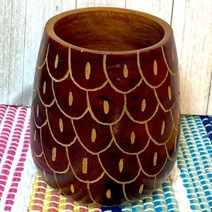 Carved Wooden Decor Vase Accent Container Storage